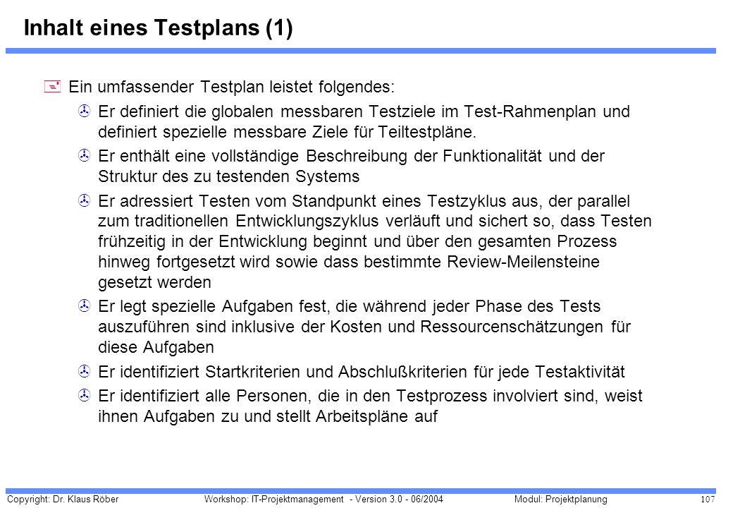 Inhalt eines Testplans (1)