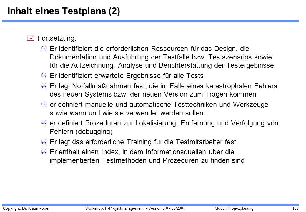 Inhalt eines Testplans (2)