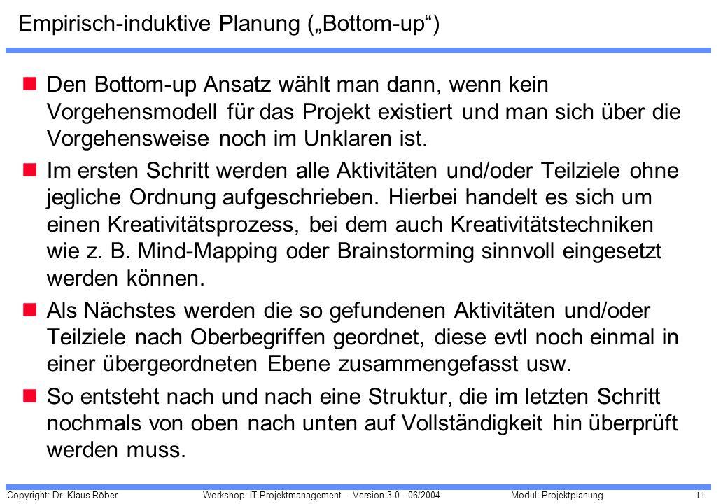 """Empirisch-induktive Planung (""""Bottom-up )"""