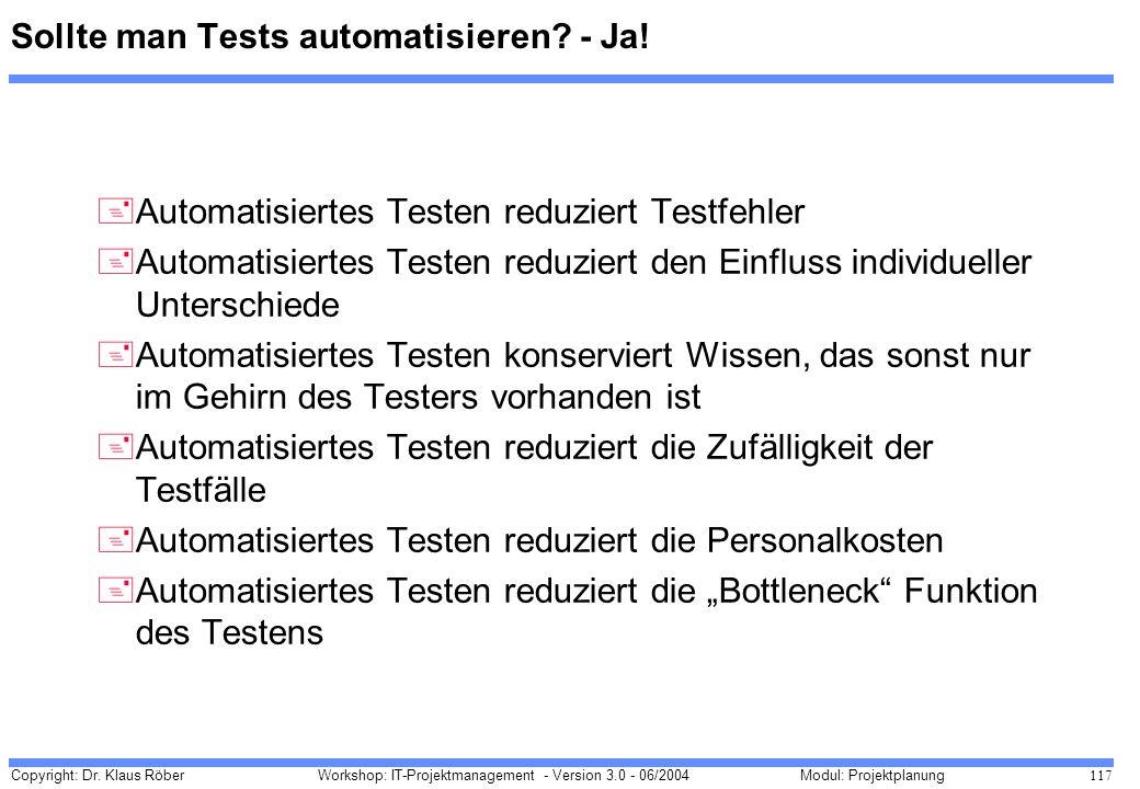 Sollte man Tests automatisieren - Ja!