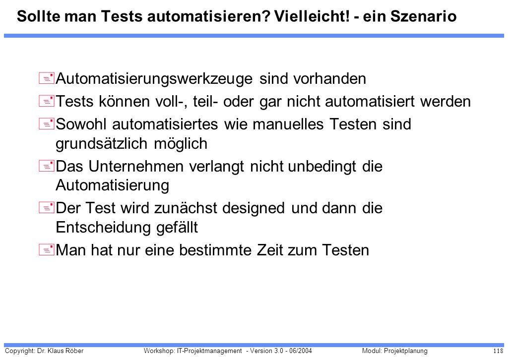 Sollte man Tests automatisieren Vielleicht! - ein Szenario