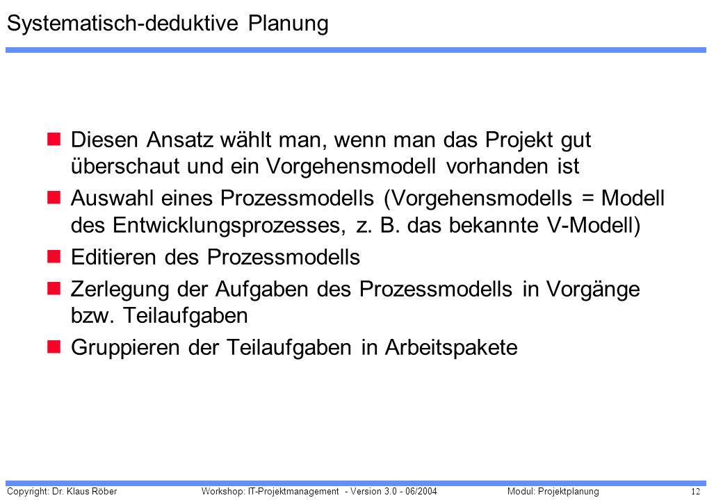 Systematisch-deduktive Planung