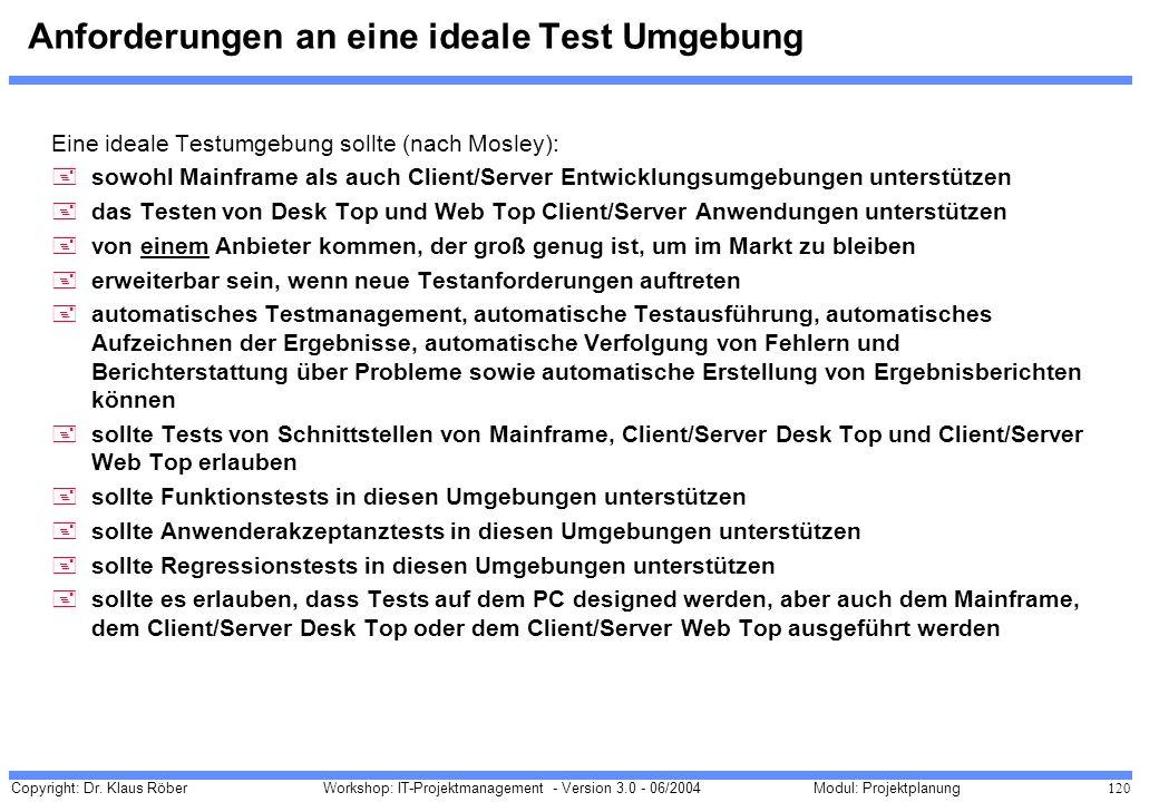 Anforderungen an eine ideale Test Umgebung