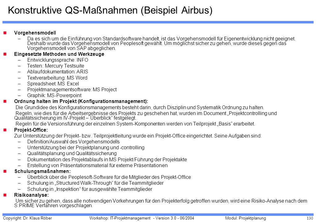 Konstruktive QS-Maßnahmen (Beispiel Airbus)