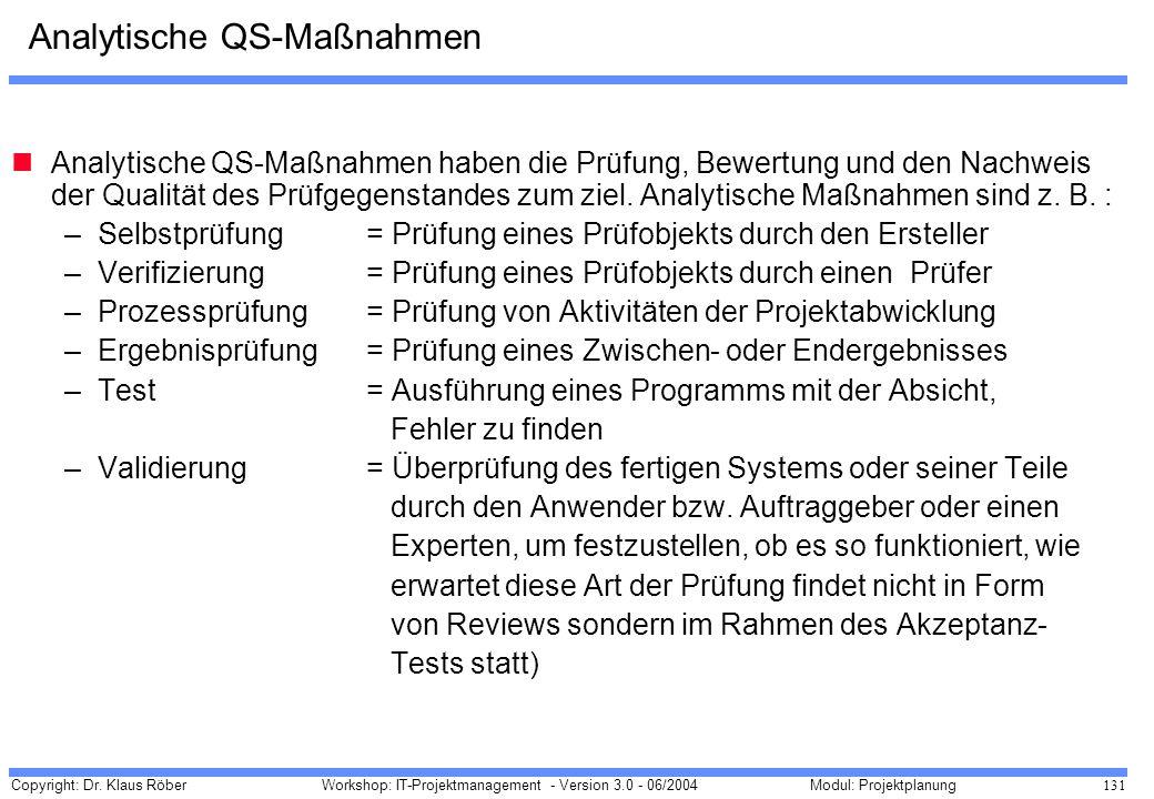 Analytische QS-Maßnahmen