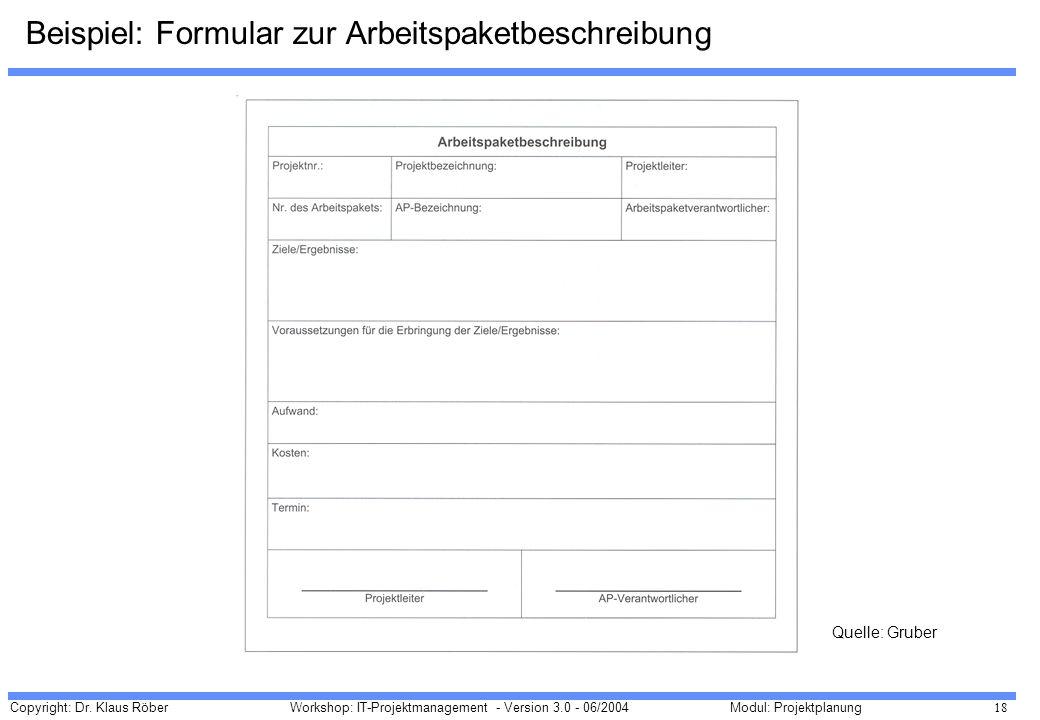 Beispiel: Formular zur Arbeitspaketbeschreibung