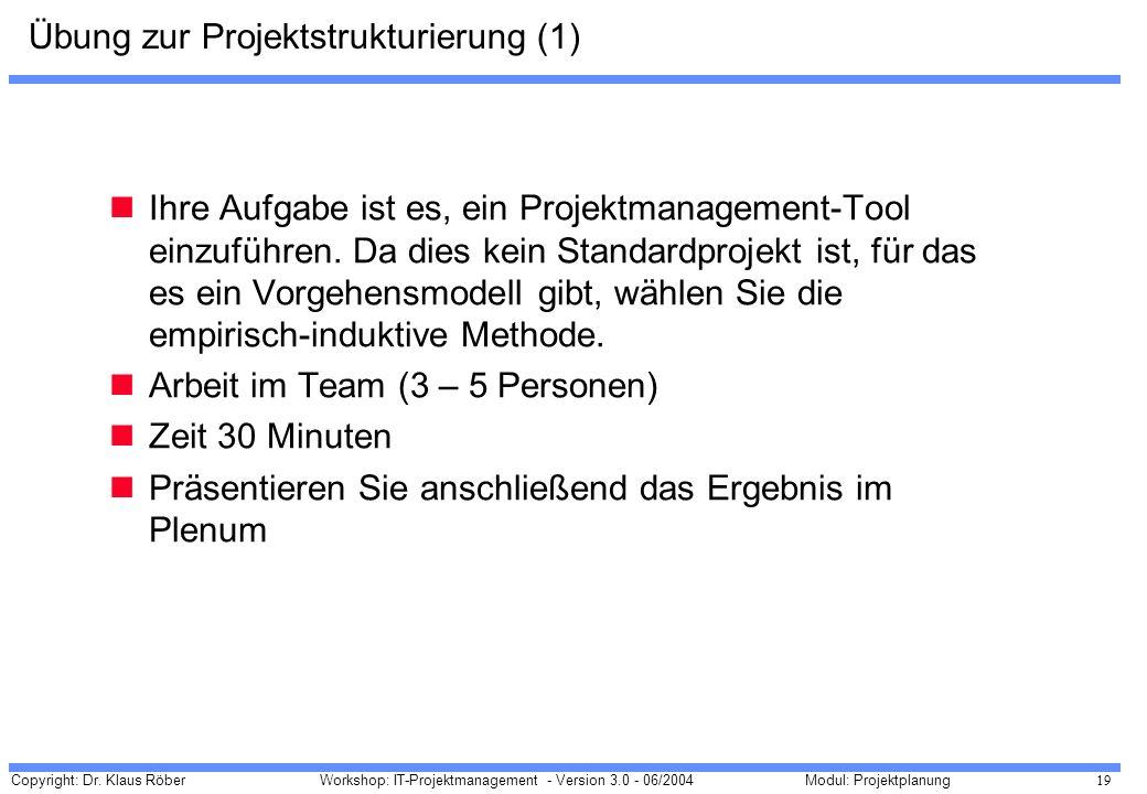 Übung zur Projektstrukturierung (1)