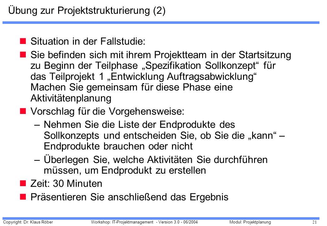Übung zur Projektstrukturierung (2)