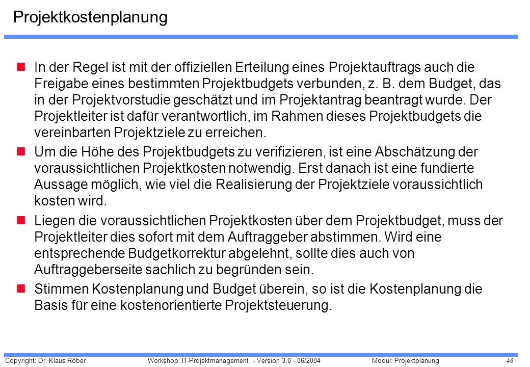 Projektkostenplanung