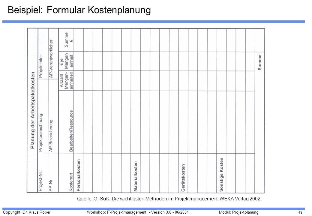 Beispiel: Formular Kostenplanung