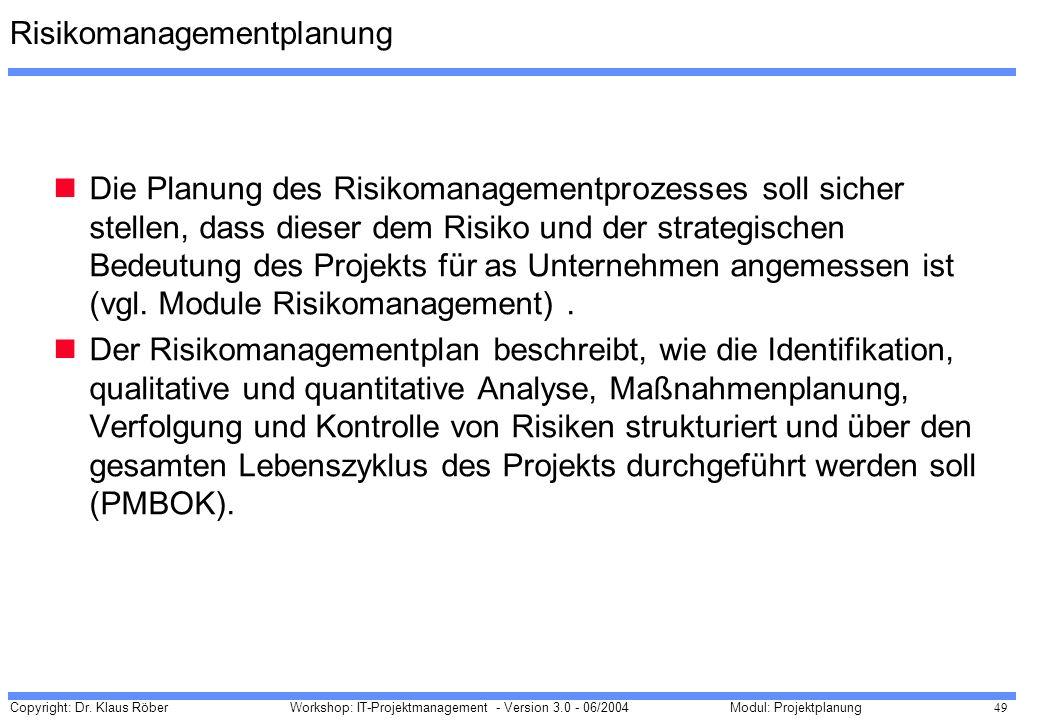 Risikomanagementplanung