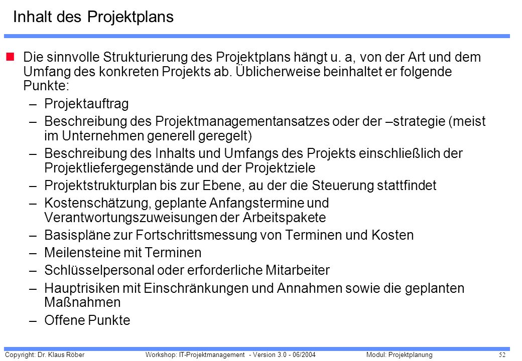 Inhalt des Projektplans