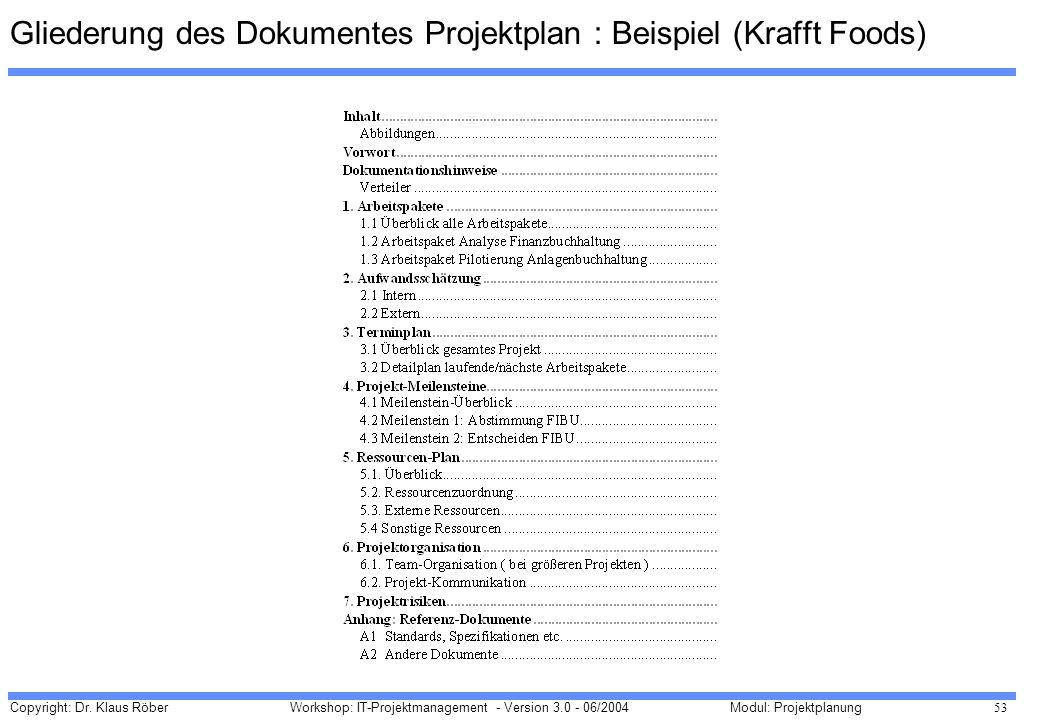 Gliederung des Dokumentes Projektplan : Beispiel (Krafft Foods)