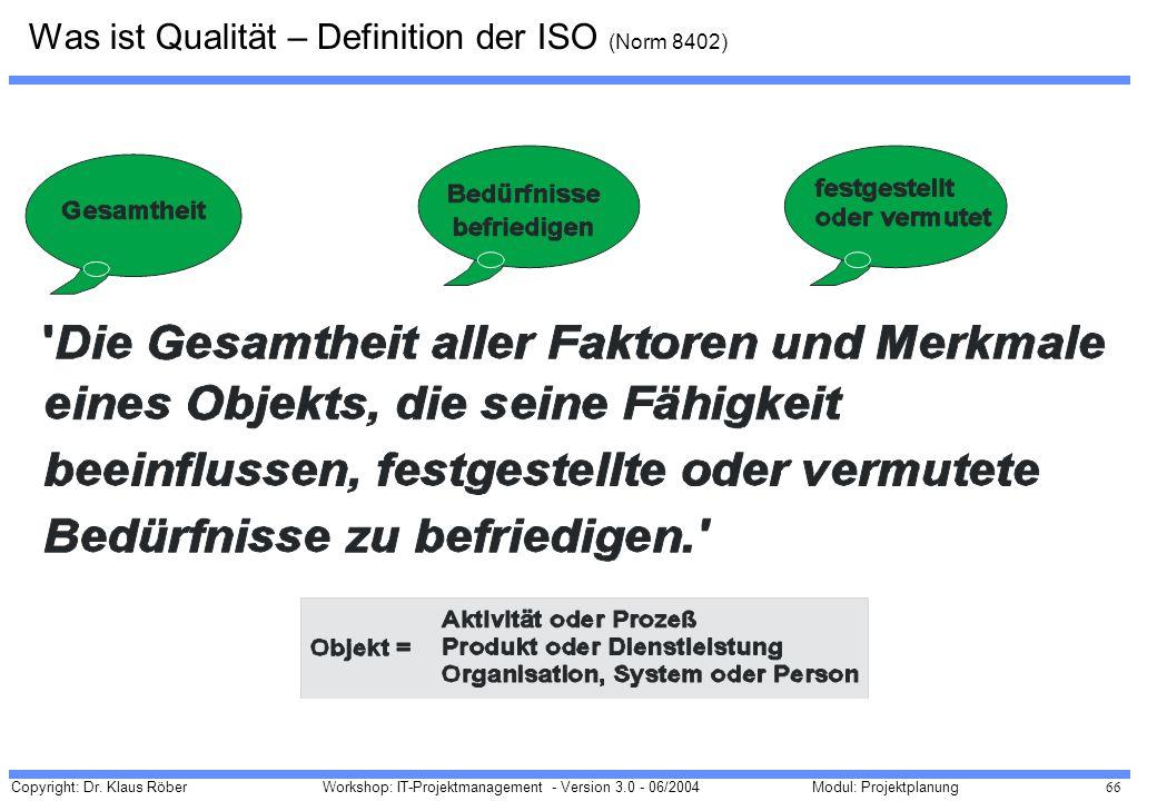 Was ist Qualität – Definition der ISO (Norm 8402)
