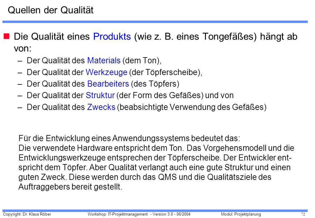 Die Qualität eines Produkts (wie z. B. eines Tongefäßes) hängt ab von: