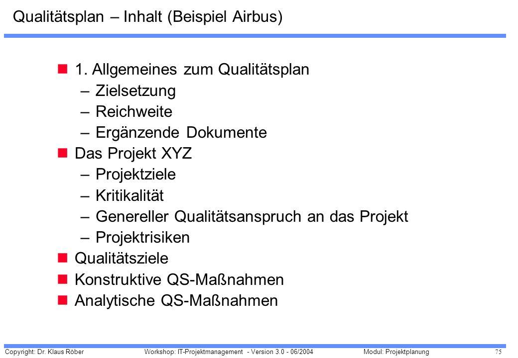 Qualitätsplan – Inhalt (Beispiel Airbus)