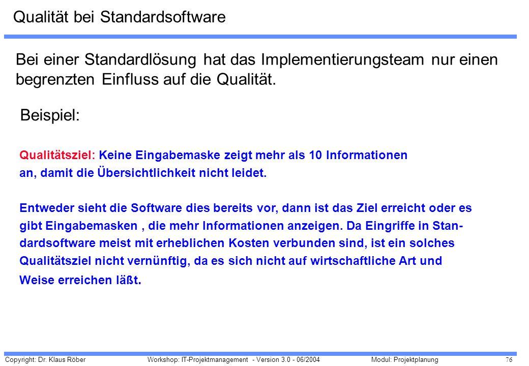 Qualität bei Standardsoftware