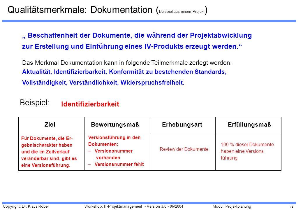 Qualitätsmerkmale: Dokumentation (Beispiel aus einem Projekt)