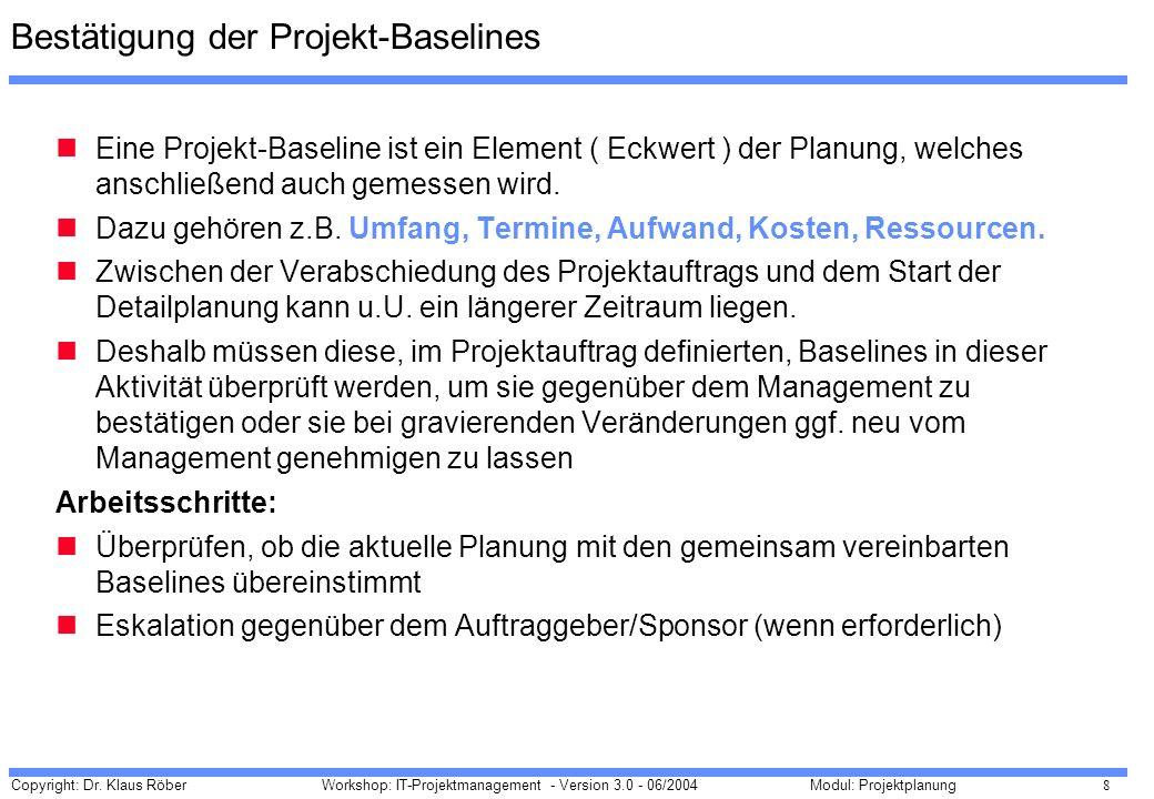 Bestätigung der Projekt-Baselines