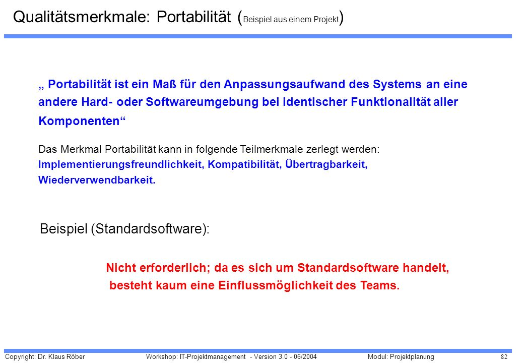 Qualitätsmerkmale: Portabilität (Beispiel aus einem Projekt)