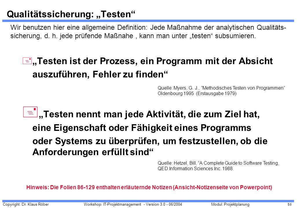"""Qualitätssicherung: """"Testen"""