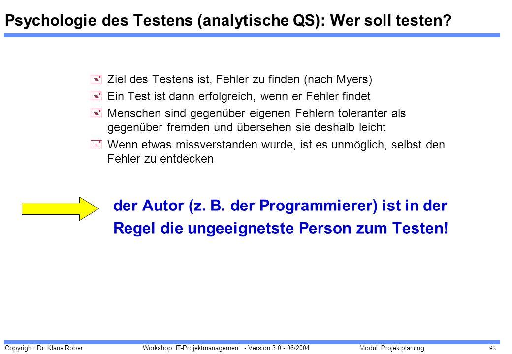 Psychologie des Testens (analytische QS): Wer soll testen