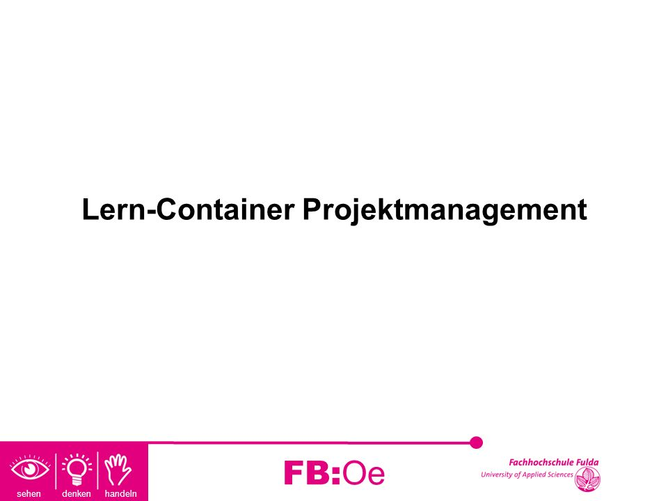 Lern-Container Projektmanagement