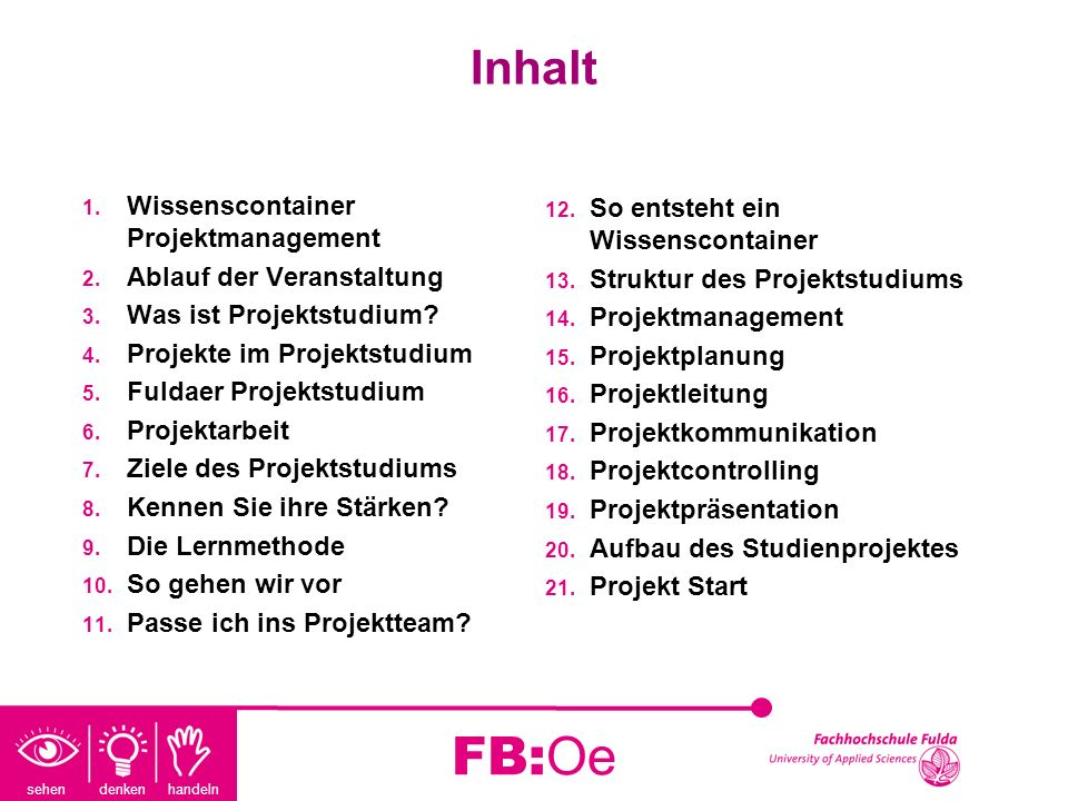 FB:Oe Inhalt Wissenscontainer Projektmanagement