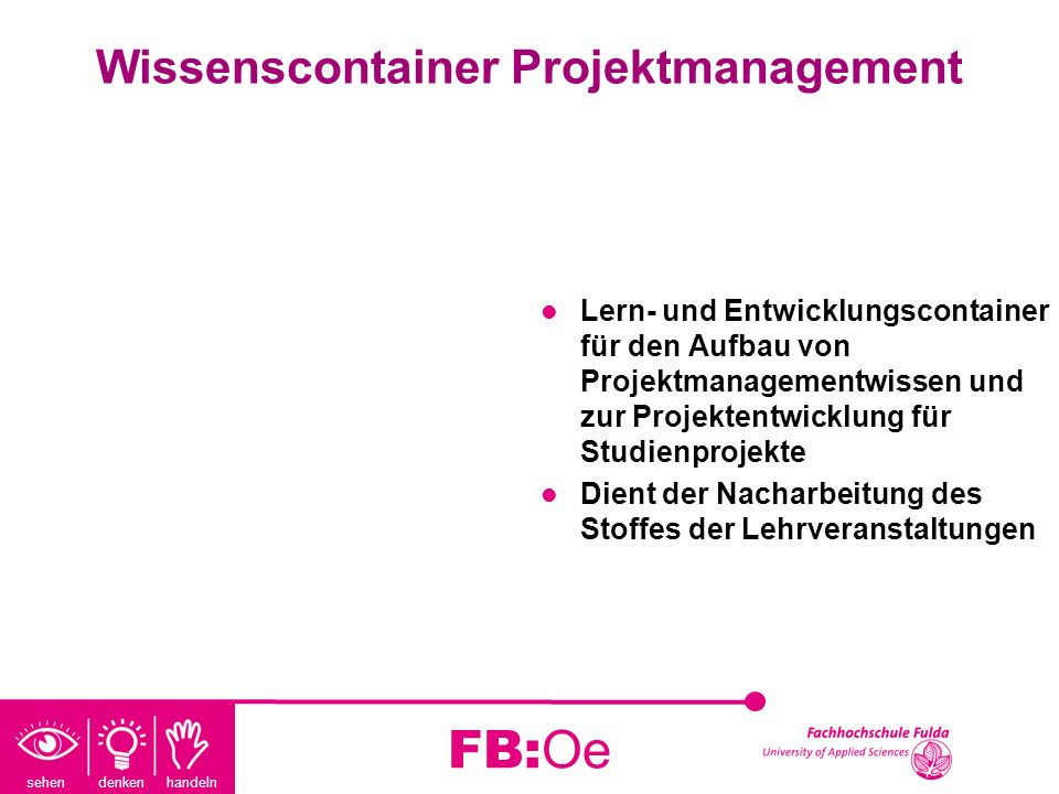 Wissenscontainer Projektmanagement