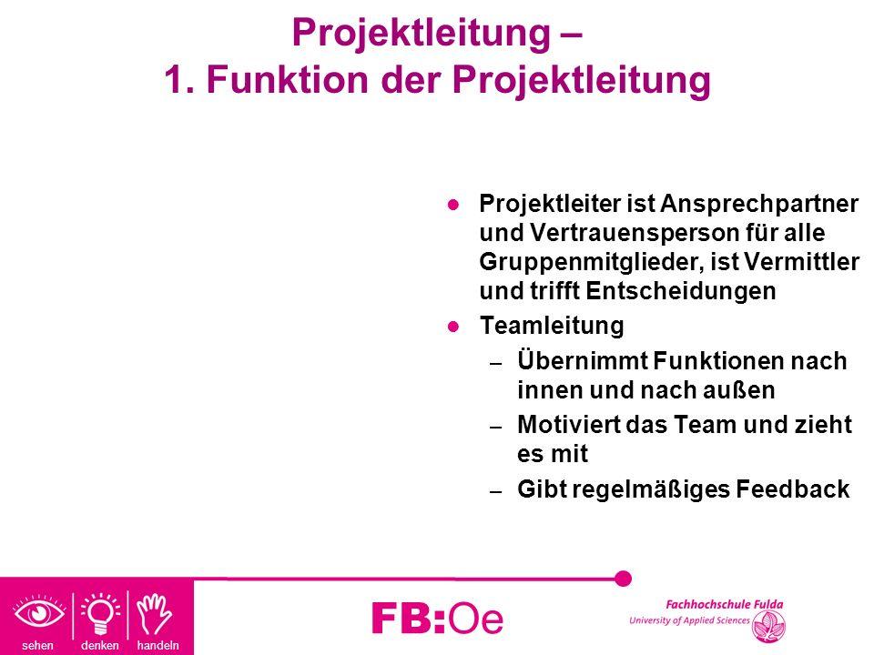 Projektleitung – 1. Funktion der Projektleitung