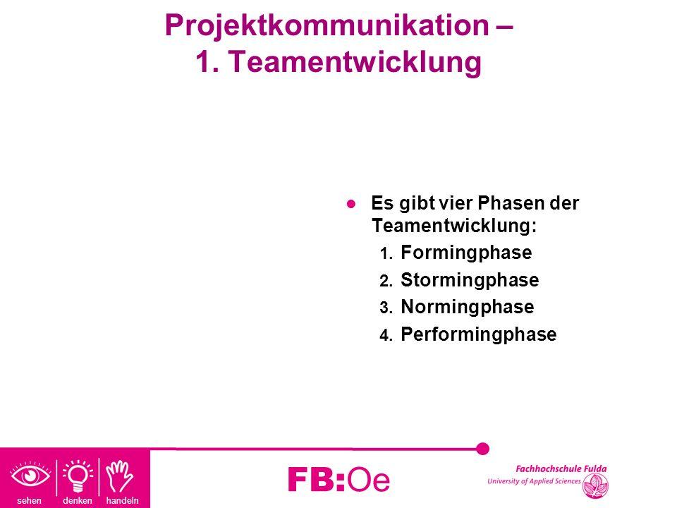 Projektkommunikation – 1. Teamentwicklung