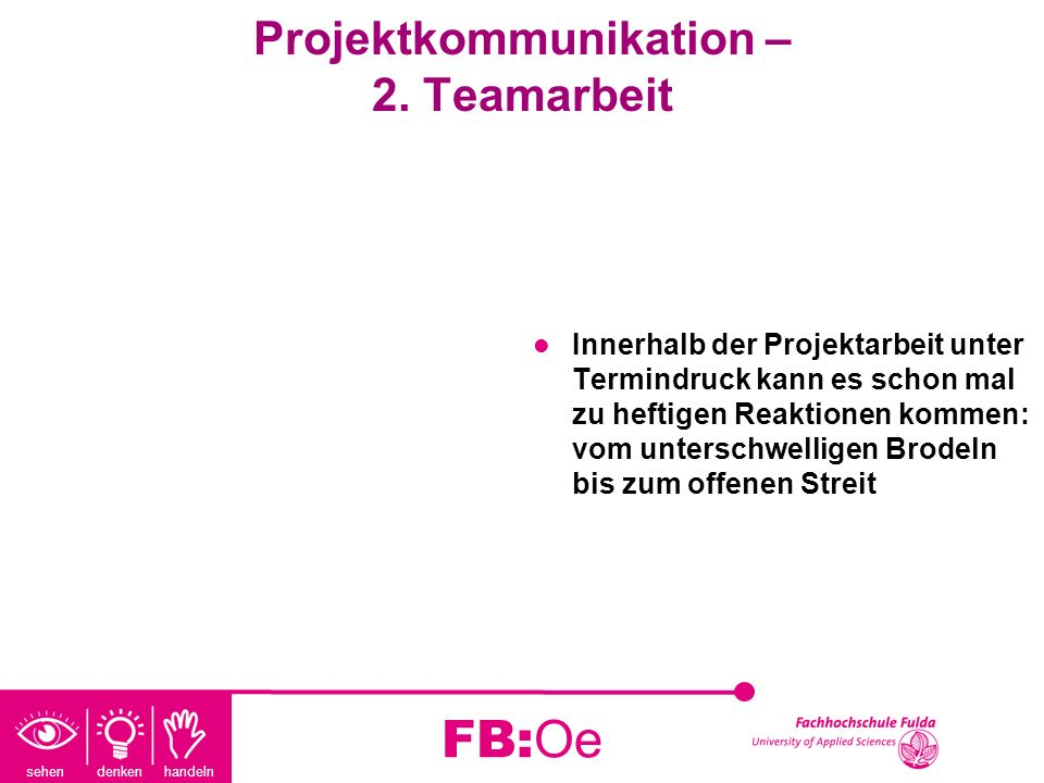 Projektkommunikation – 2. Teamarbeit