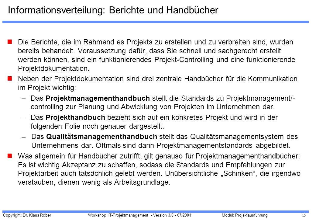 Informationsverteilung: Berichte und Handbücher