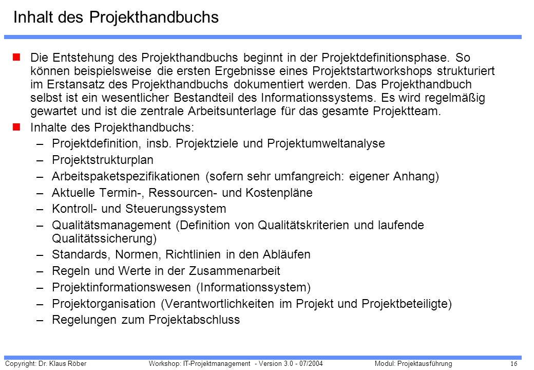 Inhalt des Projekthandbuchs