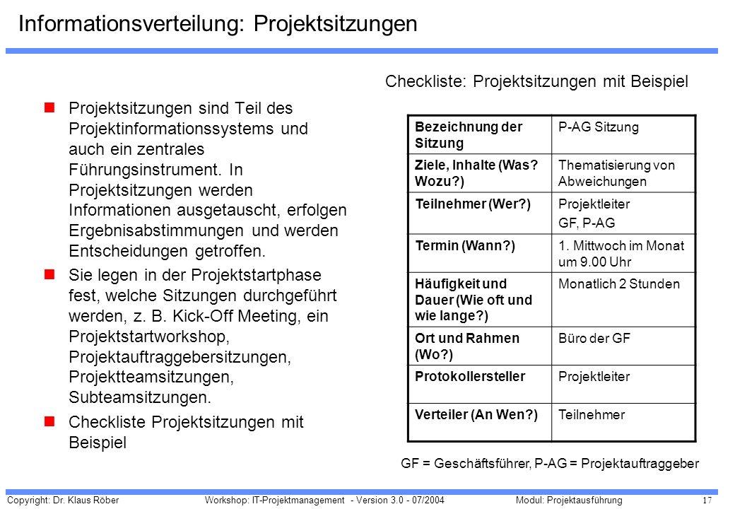 Informationsverteilung: Projektsitzungen