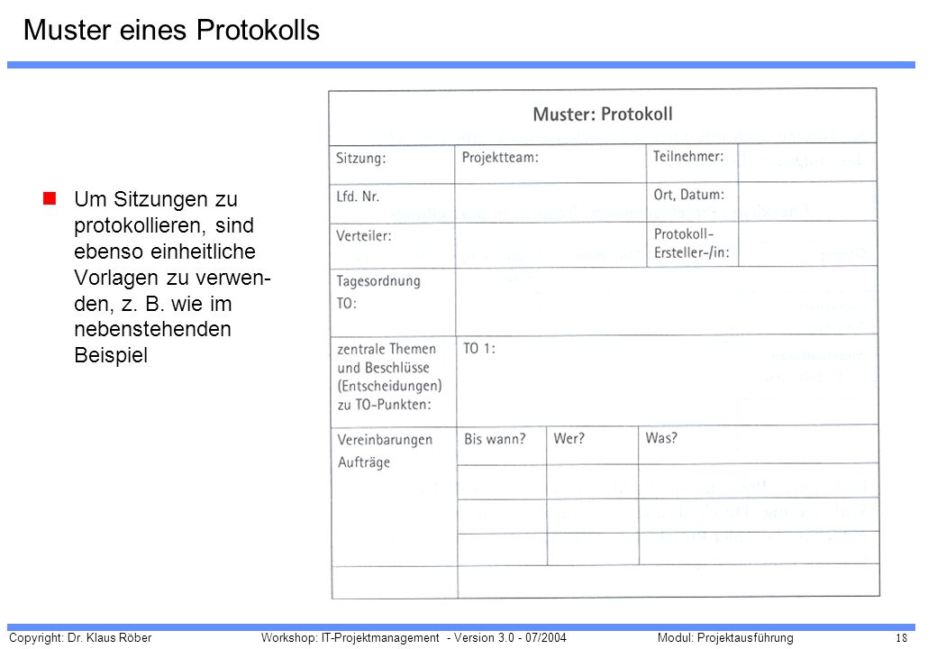 Muster eines Protokolls