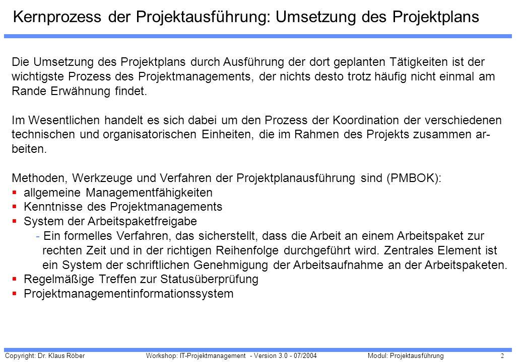 Kernprozess der Projektausführung: Umsetzung des Projektplans
