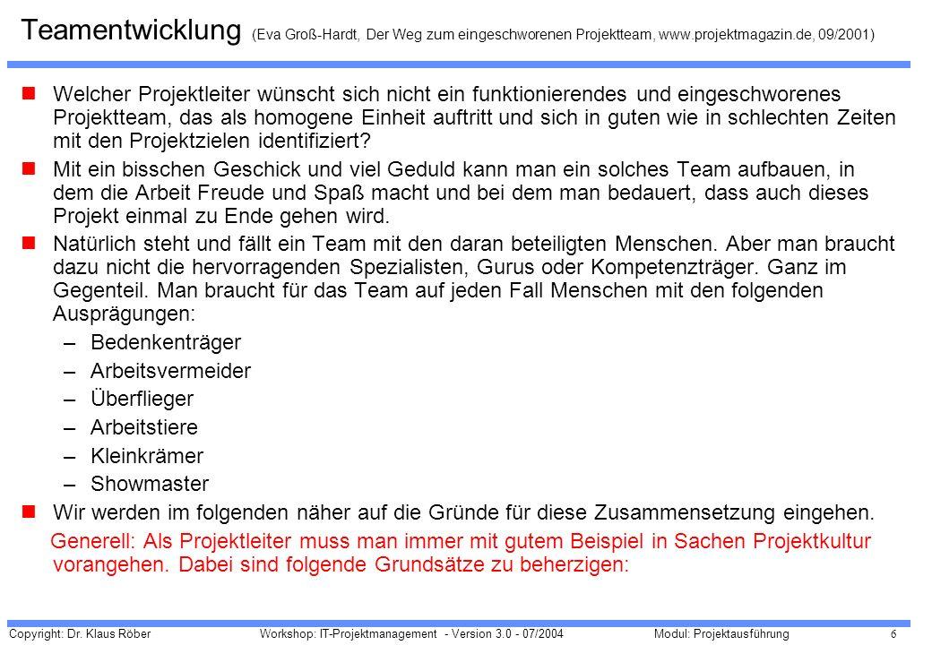 Teamentwicklung (Eva Groß-Hardt, Der Weg zum eingeschworenen Projektteam, www.projektmagazin.de, 09/2001)