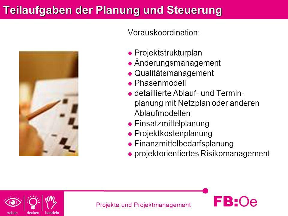 Teilaufgaben der Planung und Steuerung