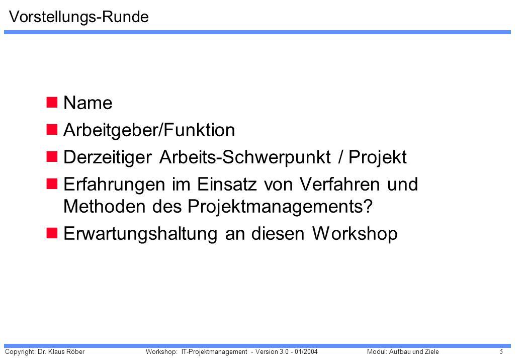Arbeitgeber/Funktion Derzeitiger Arbeits-Schwerpunkt / Projekt