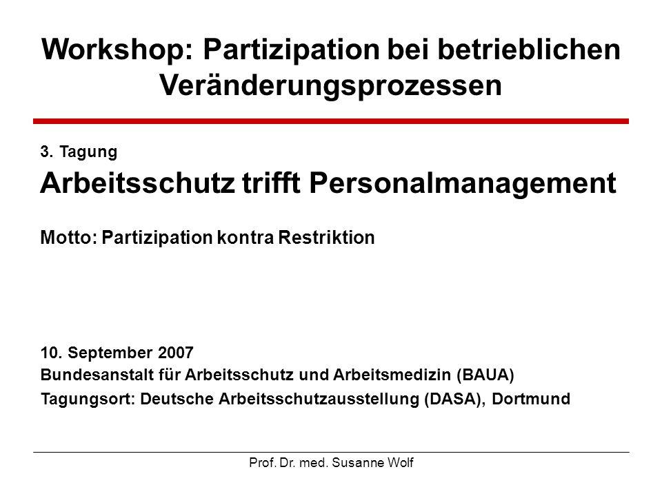 Workshop: Partizipation bei betrieblichen Veränderungsprozessen