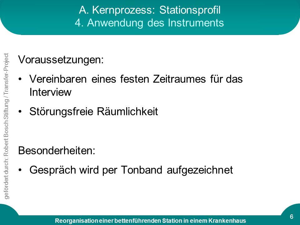 A. Kernprozess: Stationsprofil 4. Anwendung des Instruments