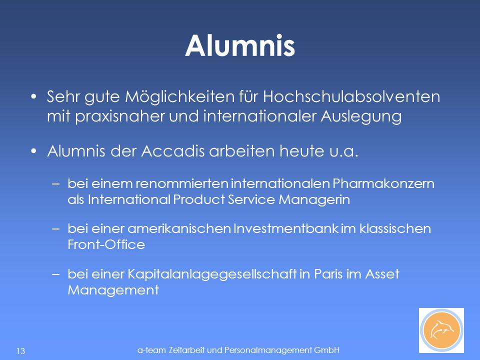 Alumnis Sehr gute Möglichkeiten für Hochschulabsolventen mit praxisnaher und internationaler Auslegung.
