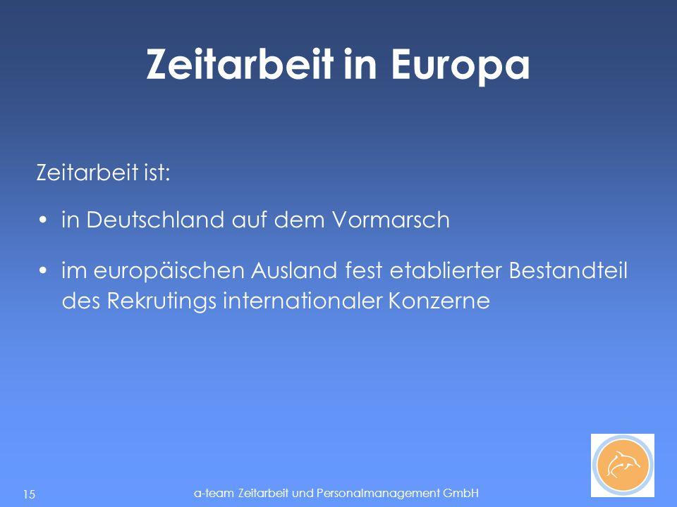 Zeitarbeit in Europa Zeitarbeit ist: in Deutschland auf dem Vormarsch