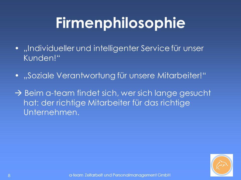 """Firmenphilosophie """"Individueller und intelligenter Service für unser Kunden! """"Soziale Verantwortung für unsere Mitarbeiter!"""