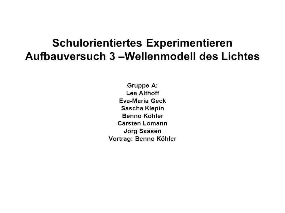 Schulorientiertes Experimentieren Aufbauversuch 3 –Wellenmodell des Lichtes Gruppe A: Lea Althoff Eva-Maria Geck Sascha Klepin Benno Köhler Carsten Lomann Jörg Sassen Vortrag: Benno Köhler