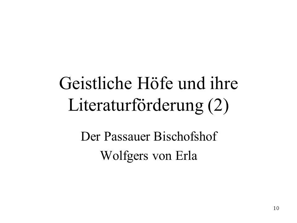 Geistliche Höfe und ihre Literaturförderung (2)
