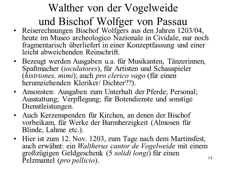 Walther von der Vogelweide und Bischof Wolfger von Passau