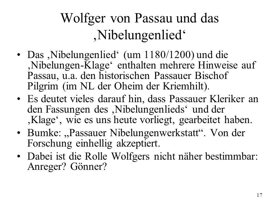 Wolfger von Passau und das 'Nibelungenlied'