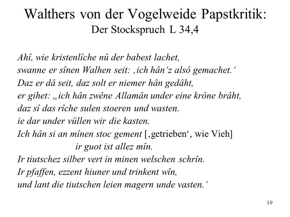 Walthers von der Vogelweide Papstkritik: Der Stockspruch L 34,4